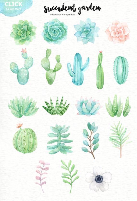 Succulent Garden Watercolor Cliparts Glass Terrarium Botanical