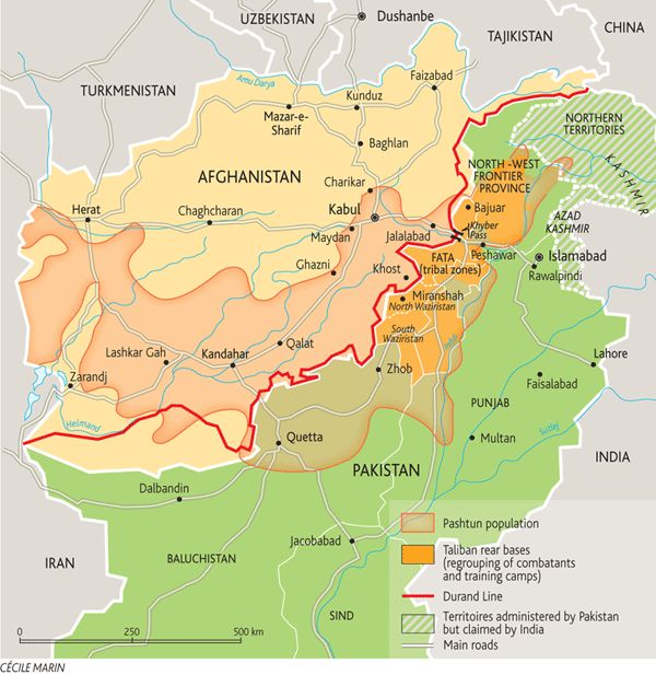 "The colonial ""Durand Line."" The light-orange overlay shows the area where the Pashtun lives. In the 1800s, a British colonial officer named Mortimer Durand negotiated the border between the British Indian Raj and the quasi-independent nation of Afghanistan. He drew the border across the middle of the Pashtun areas, thus leaving Pashtuns to be minorities in both states. The ""Durand Line,"" marked in red, became most of the border between modern Afghanistan and Pakistan."
