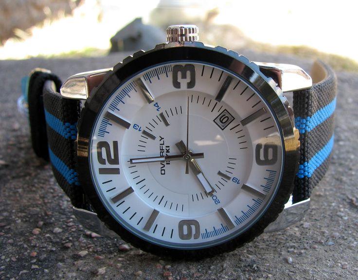 Armbandsur Eyki - Overfly Stripes (vit/blå) #eyki #kimio #sportklocka #sportklockor #armbandsur #klocka #klockor #herrklocka #herrklockor #runns #watch #watches #nato #natoband #overfly