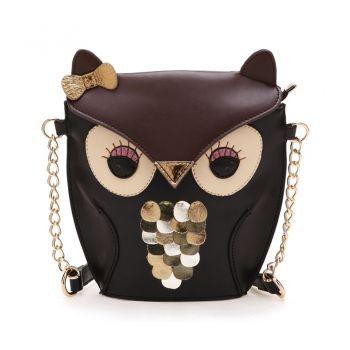 Women\'s Splicing Color Cross Body Bag Owl Pattern
