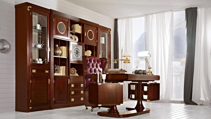 Regent study with swivel desk, classic mahogany finishing. by #Caroti #VecchiaMarina #HandMade