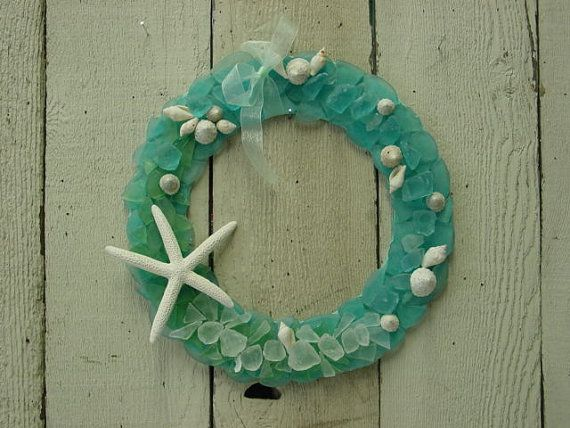 SEA GLASS WREATH / handcrafted cottage chic beach glass wreath with shells / beach cottage decor/