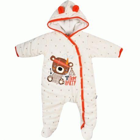 Combi-pilote bébé velours crème / orange Totem Petit Béguin > Babystock
