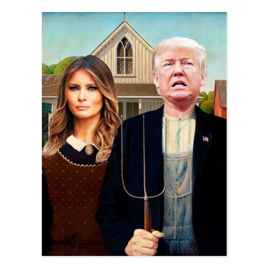 Contact Donald J. Trump American Gothic postcard