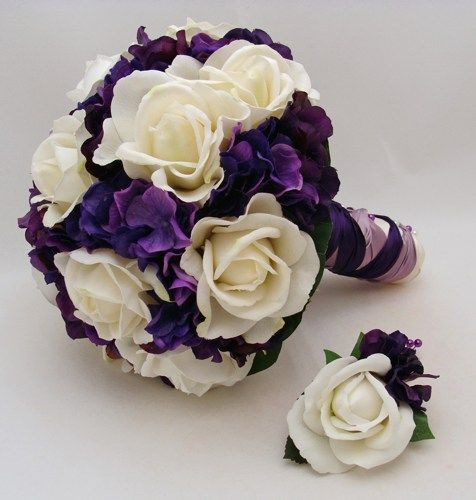 fake flower bouquets | Purple White Bridal Bouquet Bridesmaid Bouquet Real Touch Silk Flower ...