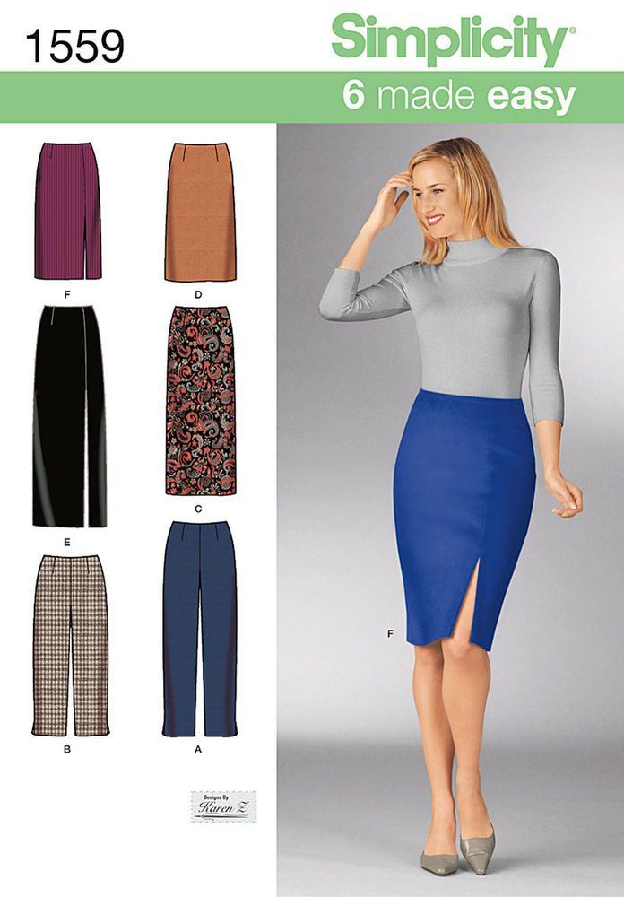"""misses' slim pants and skirts each in two lengths. make a classic long skirt   with a slit or a knee length tapered pencil skirt. pants can be made to the ankle or capri. simplicity sewing   pattern.<p></p><img src=""""skins/skin_1/images/icon-printer.gif"""" alt=""""printable pattern"""" /><a   href=""""#"""" onclick=""""toggle_visibility('foo');"""">printable pattern terms of sale</a><div id=""""foo"""" style=""""display:none;   margin-top: 10px;"""">digital patterns are tiled and labeled so you can print and assemble ..."""