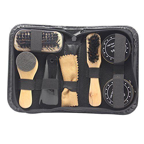 Accessotech - Kit 8 en 1 de viaje para limpiar zapatos, con maletín, cepillos y abrillantadores negro y neutro #Accessotech #viaje #para #limpiar #zapatos, #maletín, #cepillos #abrillantadores #negro #neutro