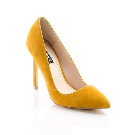 Bold, yellow suede pumps.