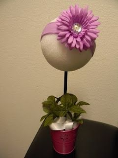 Flower Pot Headband Display...Tried this...need to figure out how to make stick stay in foam ball though....