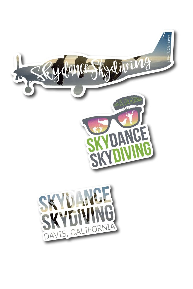 Flying high and dropping fast with SkyDance SkyDiving on the way to remembering the experience with rad custom die cut stickers.