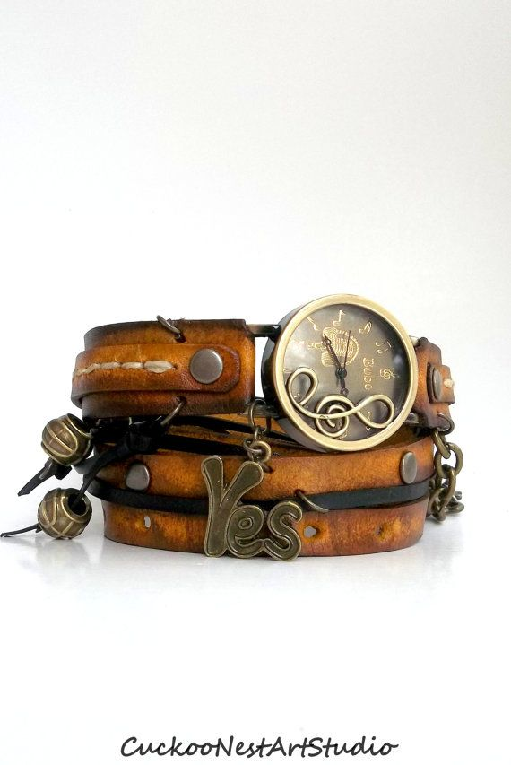 Tobacco Brown Wrap Watch, Musical Note Wrap Watch, Womens leather watch, Bracelet Watch