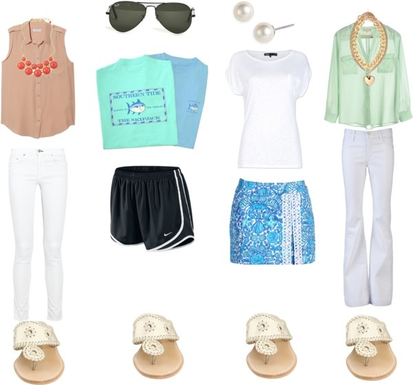 """""""Outfits with Jack Rodgers""""   SO CUTE (Except the shoes with the second outfit and the 3rd outfit all together)"""