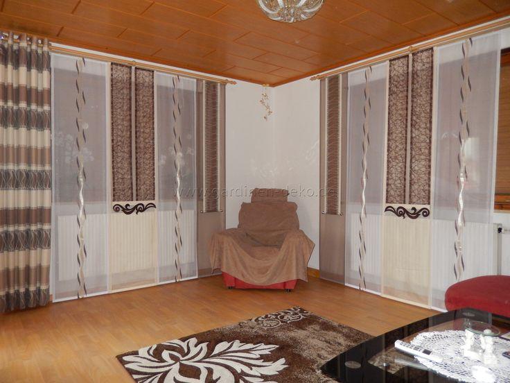 Schiebegardine F 1 4 Rs Wohnzimmer Mit Beige Braunen Schals Und