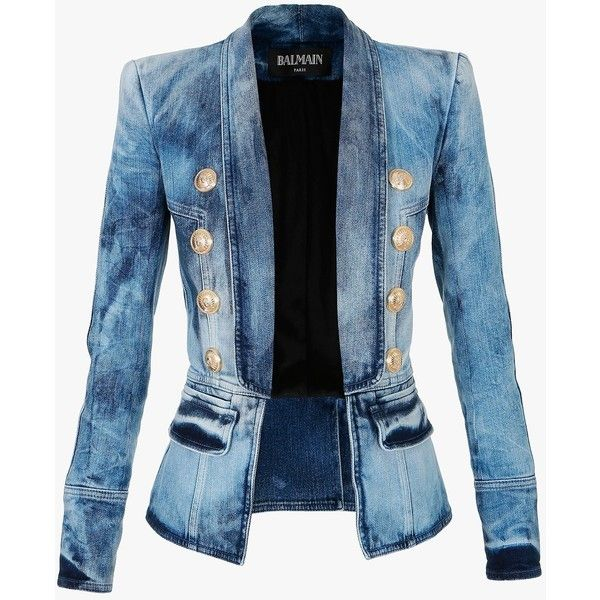 Balmain Streth cotton denim blazer (3,550 CAD) ❤ liked on Polyvore featuring outerwear, jackets, blazers, blazer, coats, coats & jackets, blue, balmain jacket, balmain blazer and lined jacket