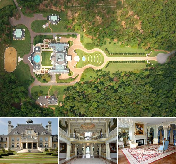 "Guitar Mansion. This lemon-hued ""Versailles-style"" mansion is on 27 acres with equestrian facilities in Shoal Creek, billed as ""one of the most attractive secluded areas in Alabama."""