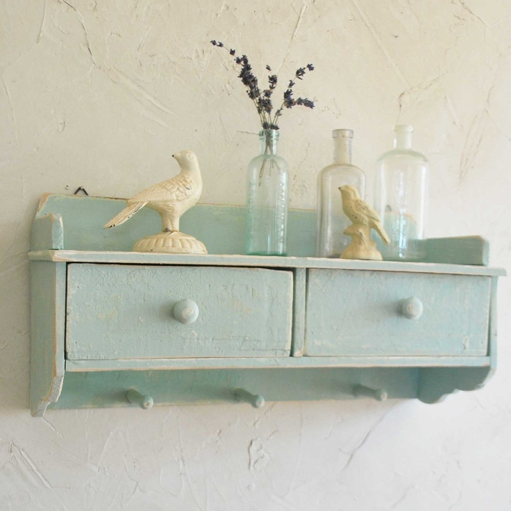 vintage nursery accents | Vintage Shelf with Drawers, Pale Turquoise, Nursery Decor