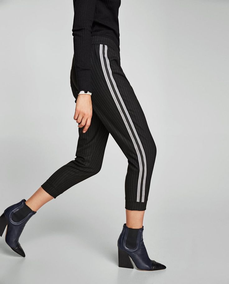 zara elastic waist striped pants