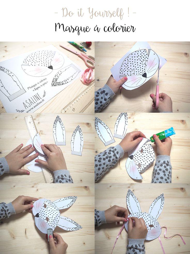 { DIY masques Lapin & Renard à imprimer-colorier-plier sur www.asaline.fr } #printable
