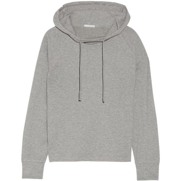 James Perse Cotton-blend jersey hooded top ($270) ❤ liked on Polyvore featuring tops, hoodies, grey, grey hoodies, relaxed fit tops, james perse, james perse top and gray top