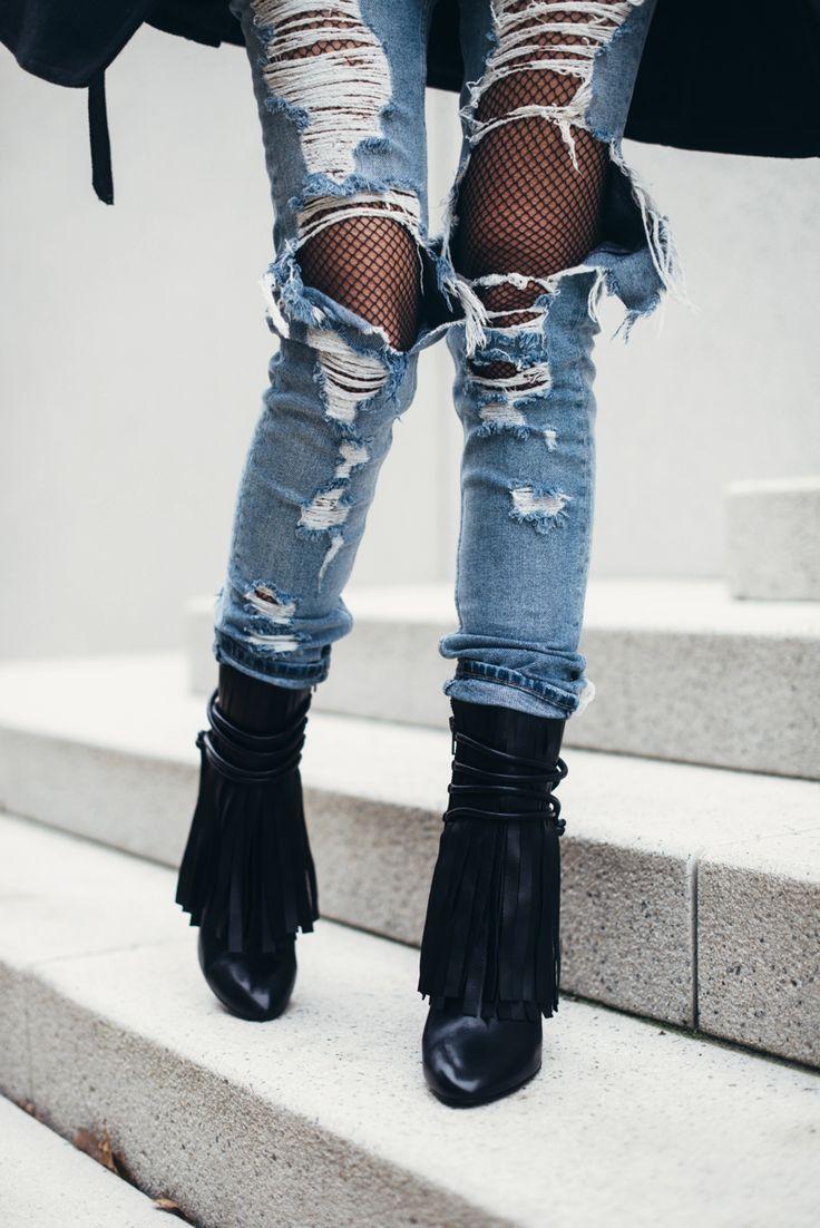 17 best images about fashion passion style on pinterest for Boyfriend jeans mit netzstrumpfhose