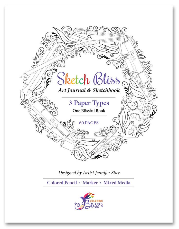 Sketch Bliss Art Journal & Sketchbook | Adult Coloring Pages ...