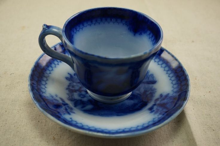 "Flow Blue CUP and SAUCER - INDIA Pattern ""V9B"" or ""V&B""? 