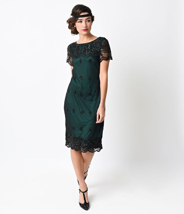1920s Style Green & Black Flapper Dress