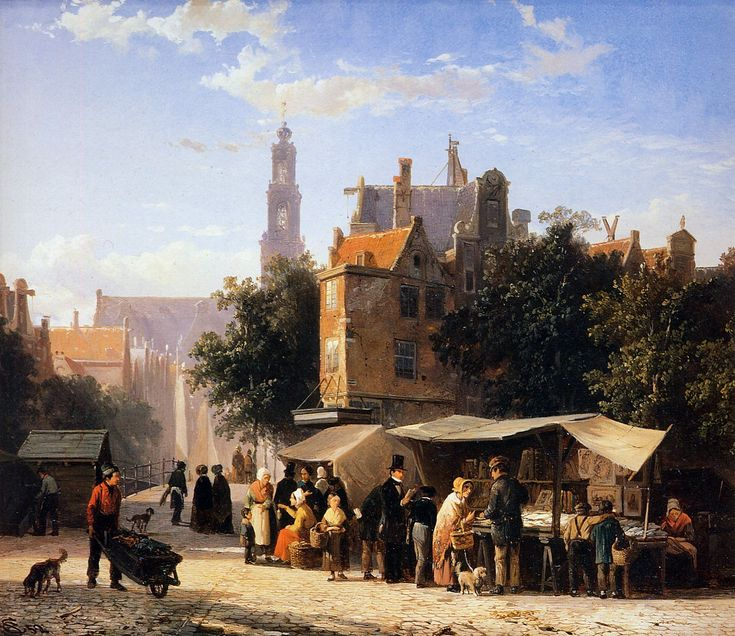 Cornelis Springer, Bookstall on the Noordermarket, c. 1835