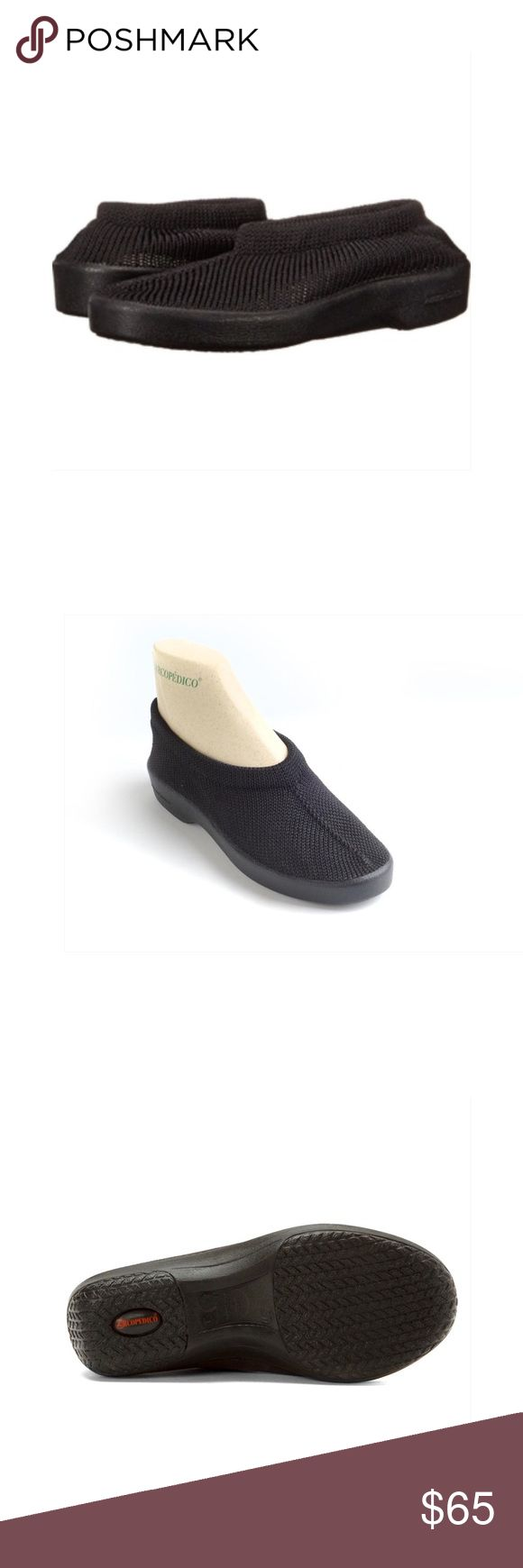 """Arcopedico Men's Slip-on Shoes - Black Size 11.5. European size 45. The Arcopedico New Sec is a classic slip-on that has a reputation for comfort that dates back to 1966. Try a pair for yourself and see what a difference they make to your feet. The Classic New Sec features soft, breathable knitted uppers that shape to the foot, twin arch support bio degradable PU non-slip sole, leather insole, and an anatomic footbed for correct weight distribution. Machine washable. Hang to dry. 1"""" Heel…"""