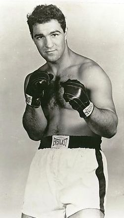 "ROCKY MARCIANO (1947-55). With 43 knockouts in his 49 fights for a slugging average of 87.7%, ""The Rock"" was devastating with his ""Susie Q"" right hand, leaving opponent after opponent one with the resin."