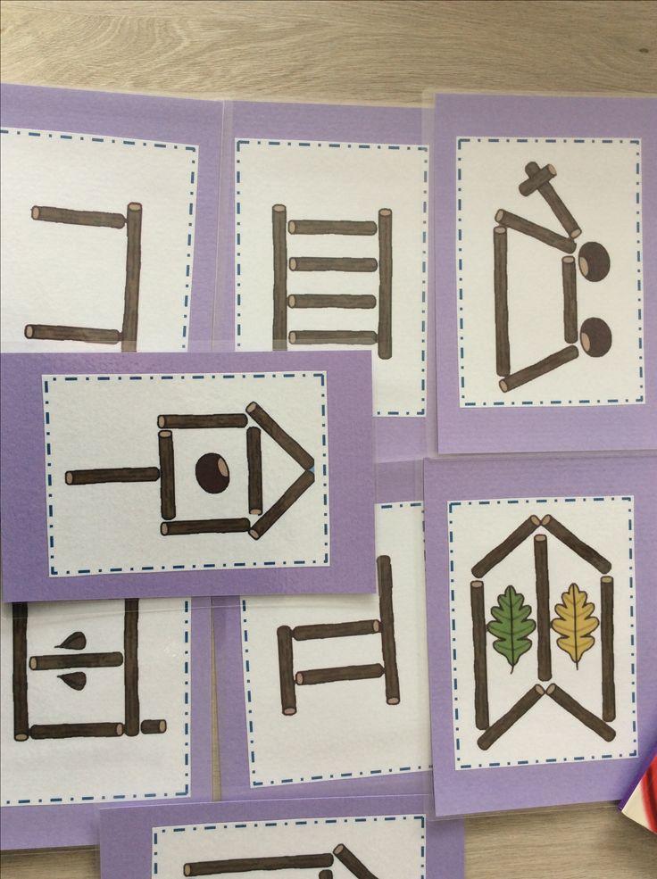 Opdrachtkaarten bouwen met takken *liestr*