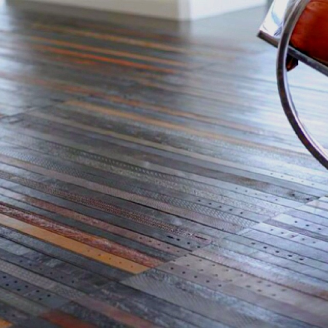 Leather belt flooring.