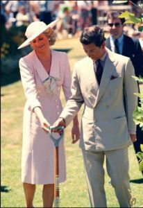 At Footscray Park, Melbourne in January 1988 the Princess is dressed in a Catherine Walker pastel-pink fitted dress