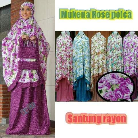 Mukena Polka Rose matterial Rayon IDR 100k