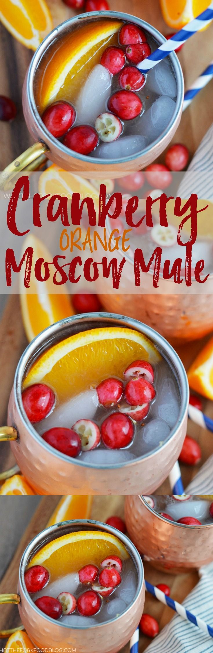 Cranberry Orange Moscow Mule from What The Fork Food Blog. A twist on the classic Moscow Mule, perfect for drinking all winter long. | whattheforkfoodblog.com