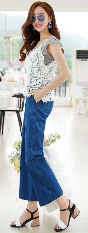 StyleOnme_Pintuck Line Wide Leg Denim Pants #denim #widepant #summerlook #koreanfashion #kstyle #kfashion #seoul #feminine #vacationlook