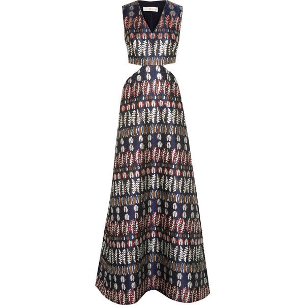 Tory Burch Cutout jacquard gown (€500) ❤ liked on Polyvore featuring dresses, gowns, navy, petite evening gowns, petite dresses, side cutout dresses, navy blue ball gown and metallic gown