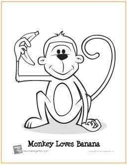 Monkey Loves Banana | Free Coloring Page - http://makingartfun.com/htm/f-maf-printit/monkey-loves-banana-coloring-page.htm