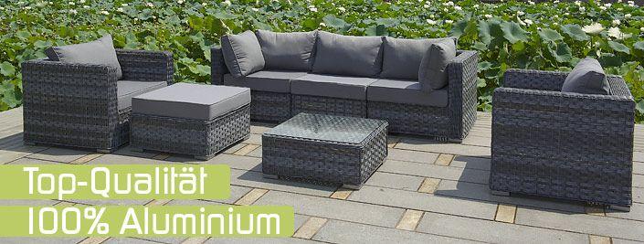 Gartenmöbel, Poly Rattan, Lounge Möbel - Gartenmöbel - loungemobel garten grau