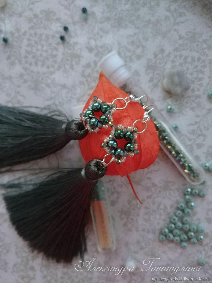 Купить Серьги кисти из бисера плетеные в интернет магазине на Ярмарке Мастеров