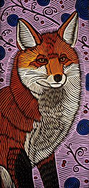 LISA BRAWN WOODCUT Red Fox