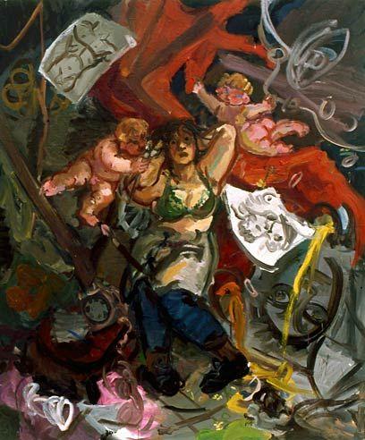 Wendy Sharpe - Artist menaced by cupids
