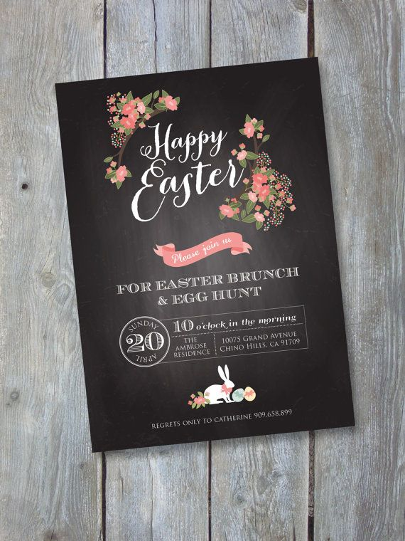 EASTER Invitation Printable file. Chalkboard Style - Brunch and Egg Hunt. Print or email your own. on Etsy, $14.50