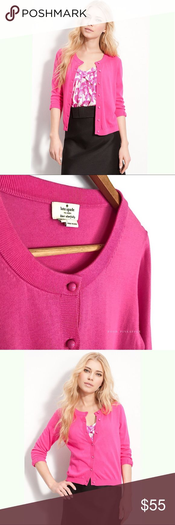 """K a t e S p a d e • C a r d i g a n • Sz M 'caroline' cardigan KATE SPADE NEW YORK Size Medium   🍍 Excellent pre-owned condition  📸 Watermark photos are of the actual item you will receive  🖍  Color may differ slightly from photos due to different monitor settings or photo lights   Bright, cheery cardigan is trimmed with glossy enameled buttons and bow-accented sleeves. * Approx. length from shoulder: 22 1/2"""". * Cotton/acrylic; dry clean. * By kate spade new york; imported…"""