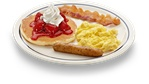 One of everything: pancake with strawberry and whipped topping, scrambled egg, bacon and sausage. Kids menu items are also in the SIMPLE & FIT menu at IHOP. They are under 600 calories.