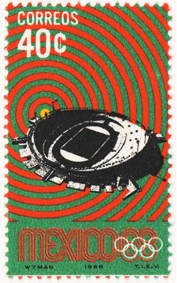 Lance Wyman, Olympic postage stamps for Mexico '68 - Lance Wyman, estampas Olímpicos de México '68