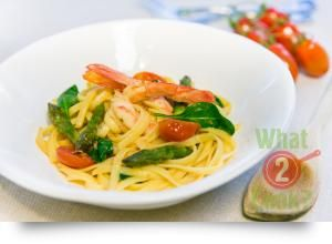 Linguine and Prawns in Spicy Sauce with Asparagus & Spinach