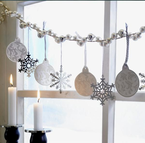 Decoration, Christmas Window Decorations Garland Ornaments Snow Flakes Hand Painted Glass Ornaments Set Costco Christmas Gorgeous Christmas Tree With Red And White Ornaments: You Can Try Window Decorations For Christmas Beautiful And Inspiring Ideas