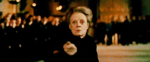 GIF Snape uses McGonagall's attack against Alecto and Amycus