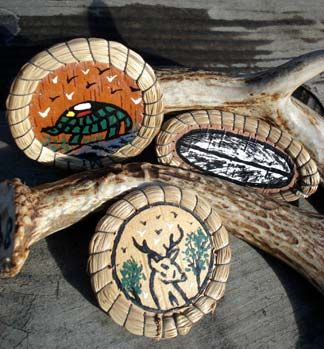 Brooches Hand-Painted on Birch Bark by Carol Pegahmagabow